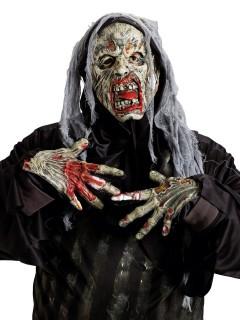 Gruseliges Halloween Kostüm-Set Leiche Maske und Handschuhe bunt