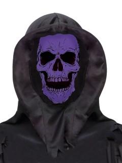 Schaurige Totenkopf-Kapuze Halloween Maske schwarz-lila