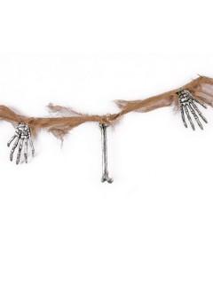 Schaurige Skelett-Hand Girlande Halloween Party-Deko beige 210x15cm