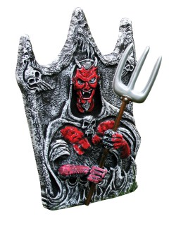 Friedhof Grabstein Teufel Hallowee-Partydeko grau-rot 40x46cm