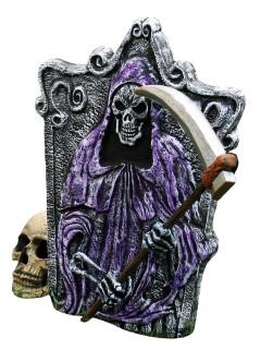 Friedhof Grabstein Sensenmann-Skelett Halloween-Partydeko grau-lila 35,7x46cm