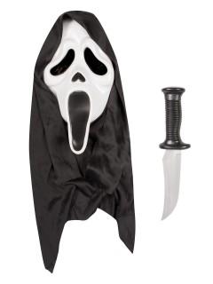 Scream Halloween Maske und Messer Lizenzartikel Kostüm-Set 2-teilig schwarz-weiss