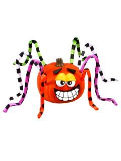 Grinsende Kürbis-Spinne Halloween Deko-Set bunt 13-teilig