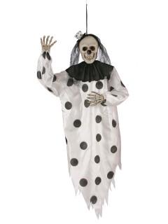 Schauriger Skelett-Clown Halloween-Hängedeko schwarz-weiss 91cm