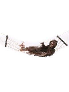 Skelett mit Hängematte Mega-Halloween-Hängedeko grau-weiss 163cm