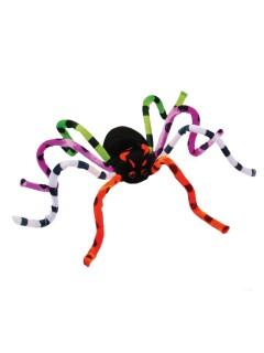 Biegbare Grusel-Spinne Halloween Party-Deko schwarz-bunt 76cm