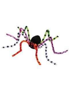Biegbare Grusel-Spinne Halloween Mega-Deko schwarz-bunt 127cm
