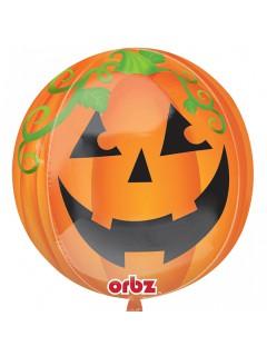Folien-Luftballon Kürbis Halloween Party-Deko orange-grün-schwarz 38cm