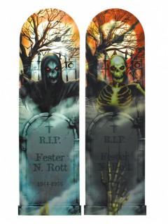 Hologramm-Schild Grabstein und Skelett Halloween-Partydeko bunt 29x94cm