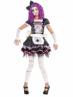 Kleines Püppchen Ragdoll Halloween Kinderkostüm weiss-schwarz-pink