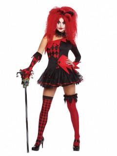 Teuflisches Harlekin-Damenkostüm Halloween-Kostüm schwarz-rot