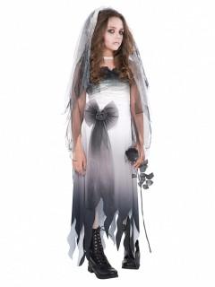 Gothic-Kostüm für Jugendliche Grabschönheit Halloween-Kostüm grau-weiss