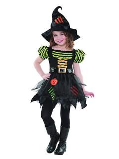 Süsse Hexe Magierin Halloween Kinderkostüm schwarz-bunt