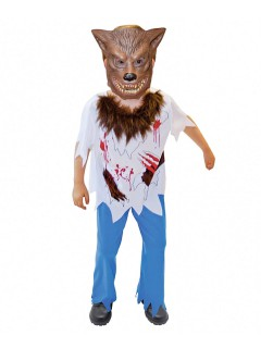 Gefährlicher Werwolf Halloween-Kinderkostüm braun-bunt