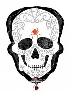 Tag der Toten Totenschädel mit Spinne Folien-Luftballon Halloween Party-Deko weiss-schwarz 45x61cm