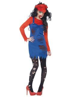 Zombie Klempnerin Halloween Damenkostüm blau-rot