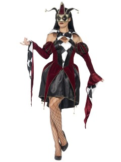 Venezianischer Harlekin Damenkostüm rot-schwarz-weiss