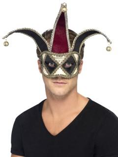 Venezianischer Clown Harlekin Augenmaske schwarz-silber