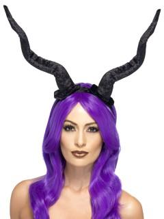 Faun-Hörner Halloween Haarreif Dämon schwarz
