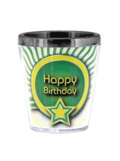 Sprüche Schnapsglas Happy Birthday Geburtstagsgeschenk grün-gelb-weiss 40ml