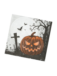 Kürbis Servietten Halloween Party-Deko 20 Stück orange-schwarz 33cm