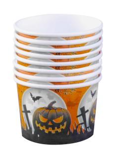 Friedhof Dessert Pappschälchen Halloween Party-Deko8 Stück orange-schwarz 5,5x8cm