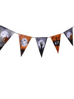 Schaurige Friedhof Wimpelgirlande Halloween Party-Deko orange-schwarz-weiss 250x22cm