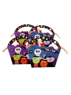 Trick or Treat Taschen Halloween Party-Deko bunt 4 Stück 20x22x4,3cm