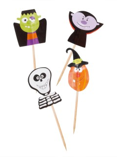 Trick or Treat Halloween Cupcake Deko-Sticks bunt 7cm 20 Stück