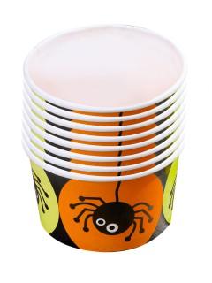 Süsse Spinnen Dessert Pappschälchen Halloween Party-Deko bunt 5,5x8,5cm 8 Stück