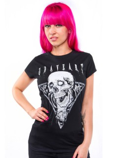 GraveArt-Damenshirt Let Em Rot Girlie-T-Shirt schwarz-weiss