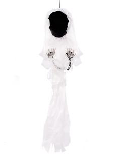 Gesichtsloser Skelett Geist Halloween Hängedeko schwarz-weiss 90cm