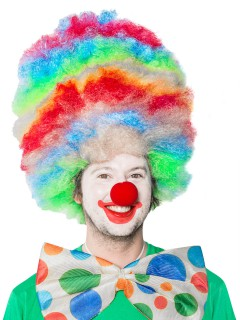 Riesige Clown Afro-Perücke bunt