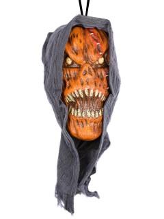 Grausame Kürbis-Fratze Halloween Deko orange-schwarz-gelb 23x13cm