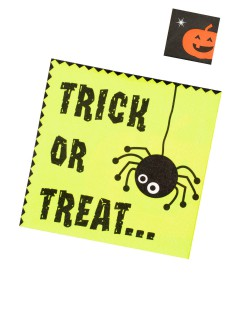 Trick or Treat Halloween Servietten 20 Stück grün-schwarz-orange 33x33cm