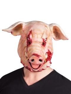 Blutiges Horror-Schwein Halloween-Maske rosa-rot