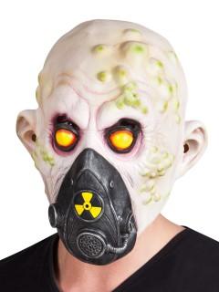 Strahlenopfer-Zombie Halloween-Maske weiss-grün-schwarz
