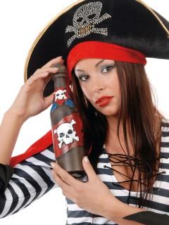 Piraten Flaschenpost Flasche transparent-rot-weiss 20cm