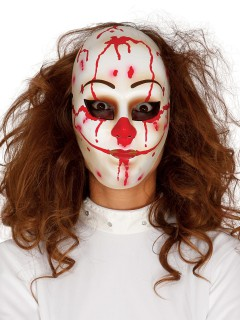 Blutige Killer-Clown Maske weiss-rot