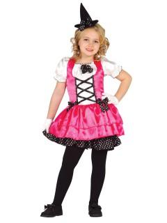 Kleine Hexe Zauberin Halloween Kinderkostüm pink-schwarz