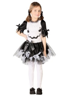 Süsses Monster-Mädchen Halloween Kinderkostüm schwarz-weiss