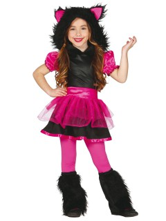 Kleines Wolf-Mädchen Halloween Kinderkostüm pink-schwarz