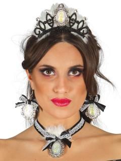 Edles Schmuck-Set Diadem Halskette und Ohrringe schwarz-weiss