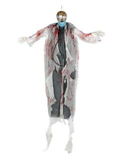 Zombie-Arzt mit Leuchtaugen Halloween-Hängedeko grau-weiss 180cm