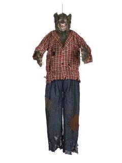Zombie-Werwolf mit Leuchtaugen und Sound Halloween-Hängedeko braun-blau 150cm