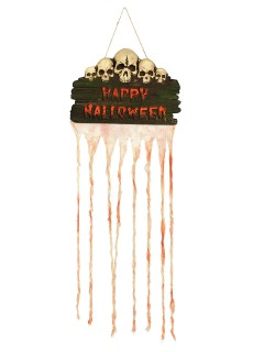 Fetzenvorhang Happy Halloween Türdeko Skull beige-braun 35x80cm