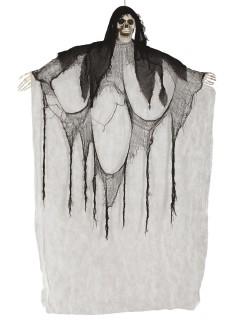Lachender Skelett-Geist Halloween-Hängedeko grau-schwarz 180cm