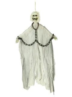 Skelett in Ketten Halloween-Hängedeko weiss 46cm