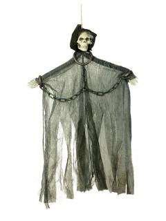 Skelett in Ketten Halloween-Hängedeko schwarz 46cm