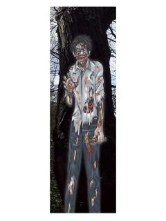 Blutiger Zombie Wanddeko Halloweendeko bunt 35x152cm